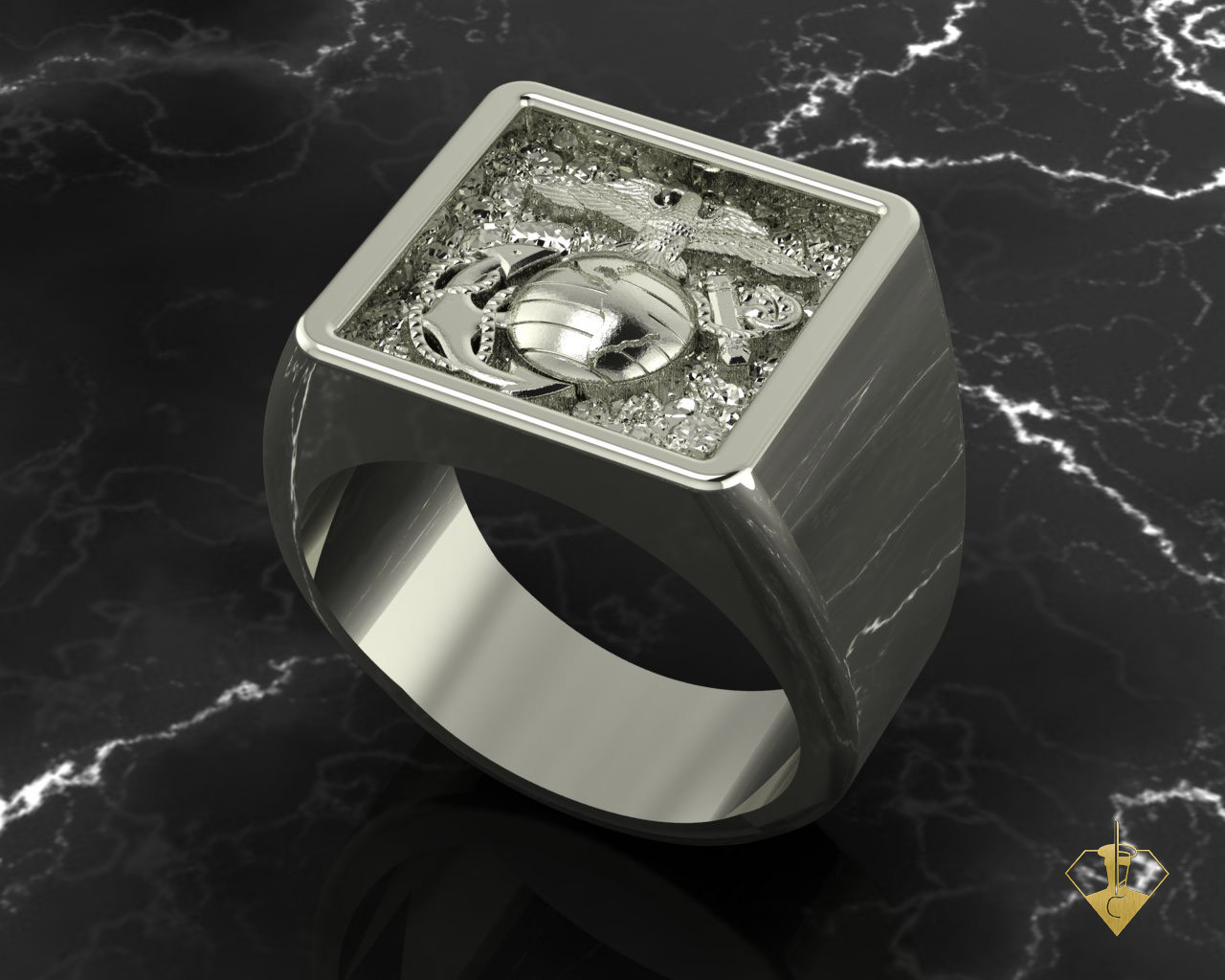 """EGA Gold 10k Signet Ring   """"Made by Marines for Marines"""" available in Sterling Silver, 10k, 14k and 18k White or Yellow gold.   100% Satisfaction Guaranteed"""