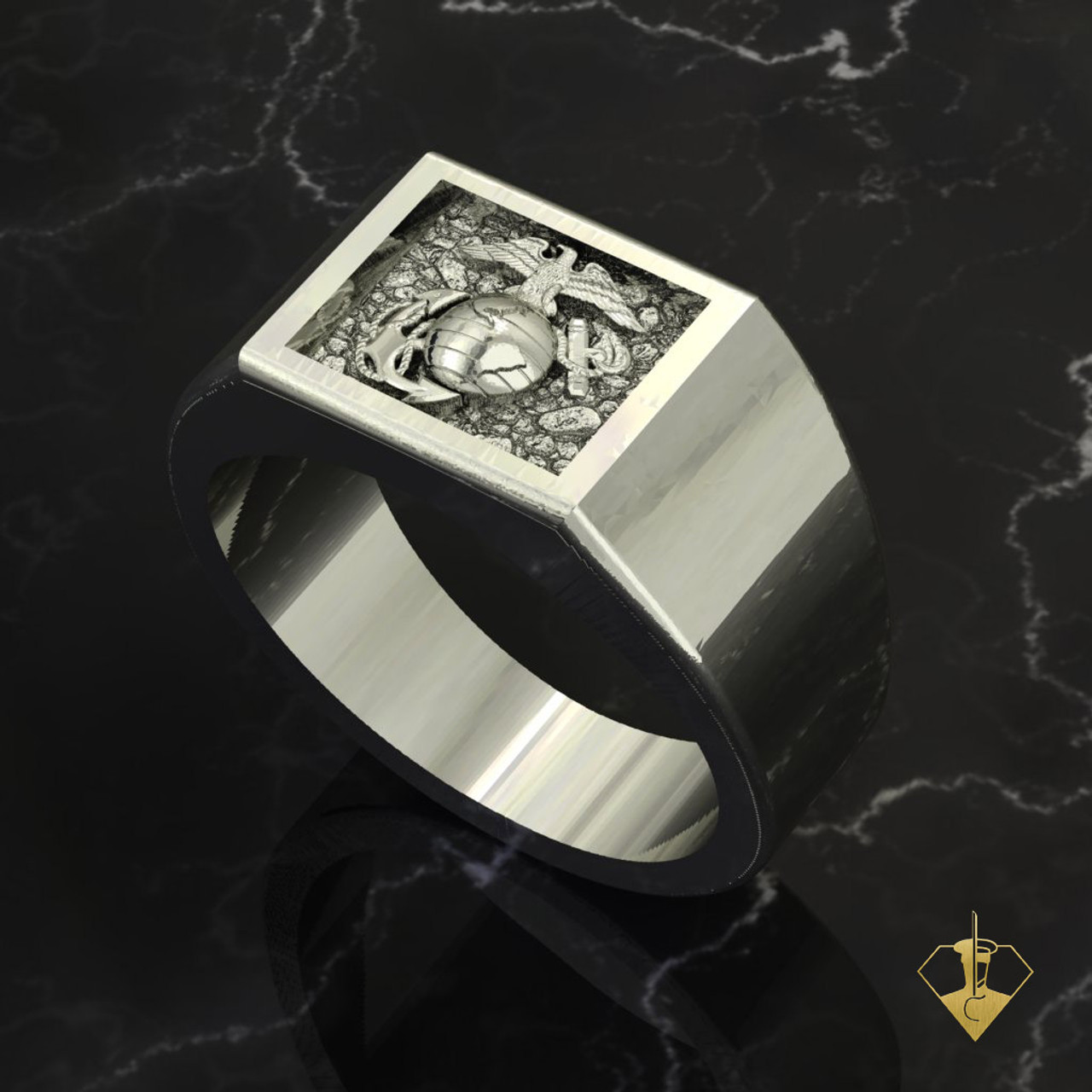 "EGA Gold Signet Ring   ""Made by Marines for Marines"" available in Sterling Silver, 10k, 14k and 18k White or Yellow gold.   100% Satisfaction Guaranteed"