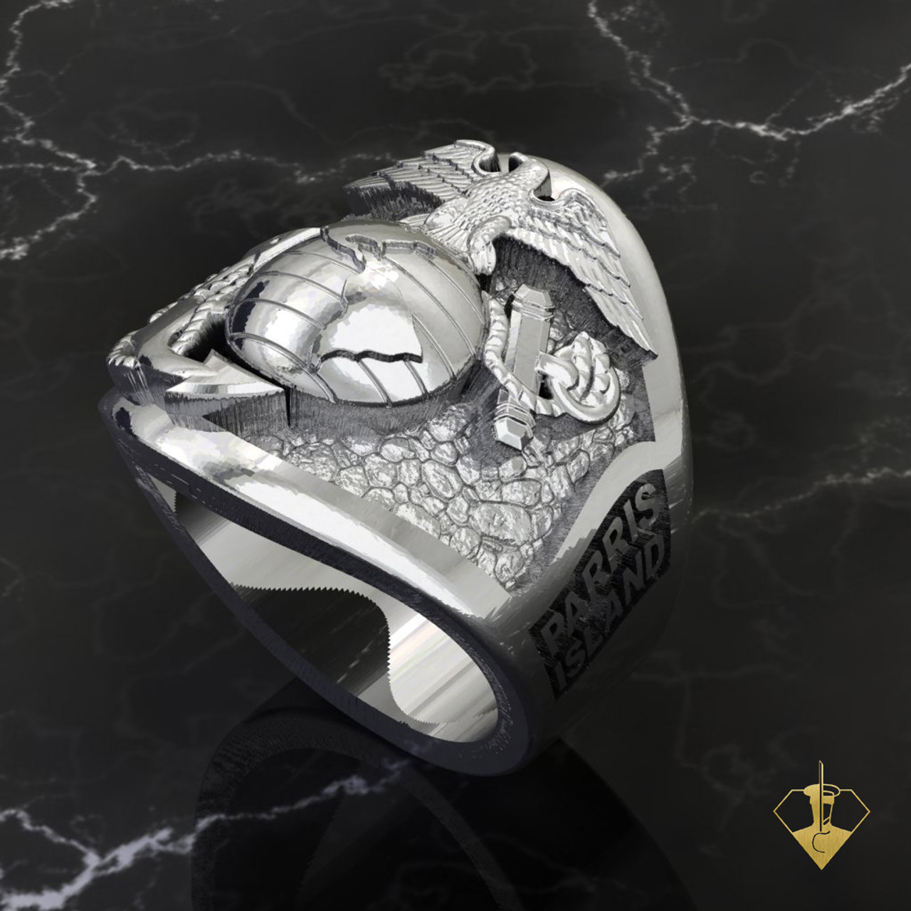 """Parris Island Graduation Ring   """"Made by Marines for Marines"""" available in Sterling Silver, 10k, 14k and 18k White or Yellow gold.   100% Satisfaction Guaranteed"""