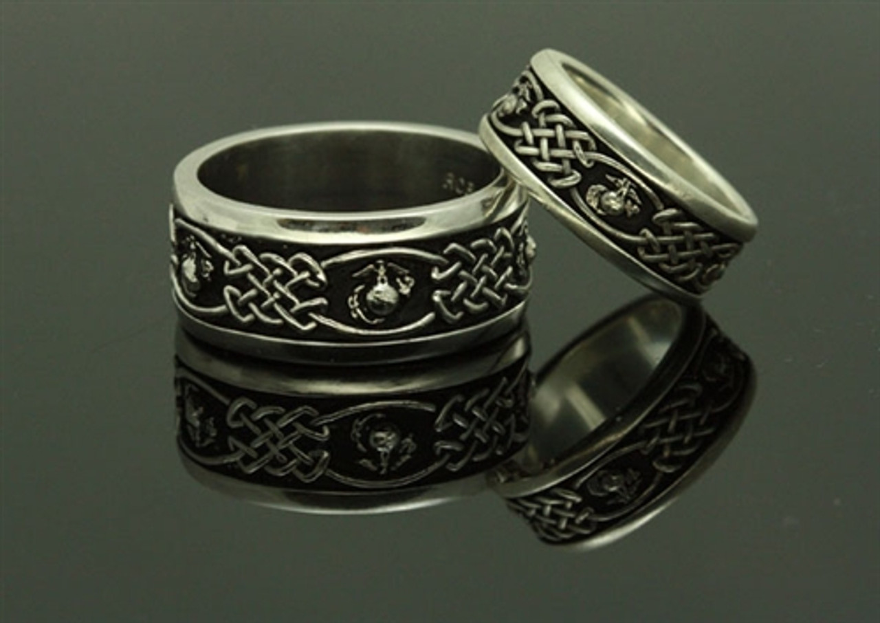 USMC Celtic Eagle, Globe & Anchor Matching Sterling Silver Bands