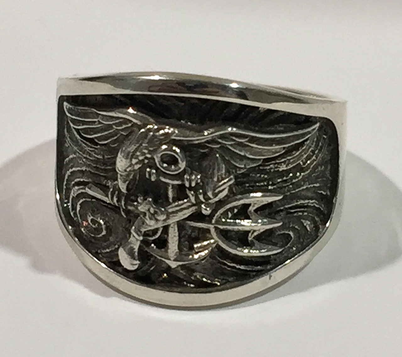 US Navy Seal Solid Sterling Silver Ring featuring the Seal Trident