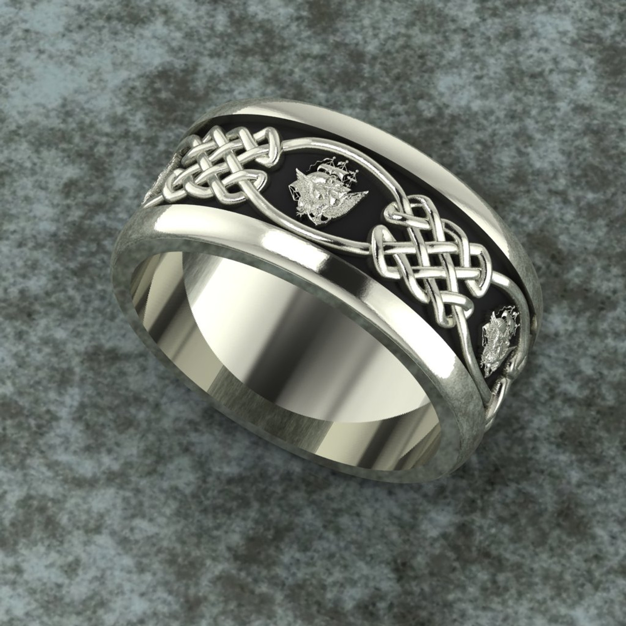 US Navy Sterling Silver Band celtic weave surround Department of the Navy Insignia