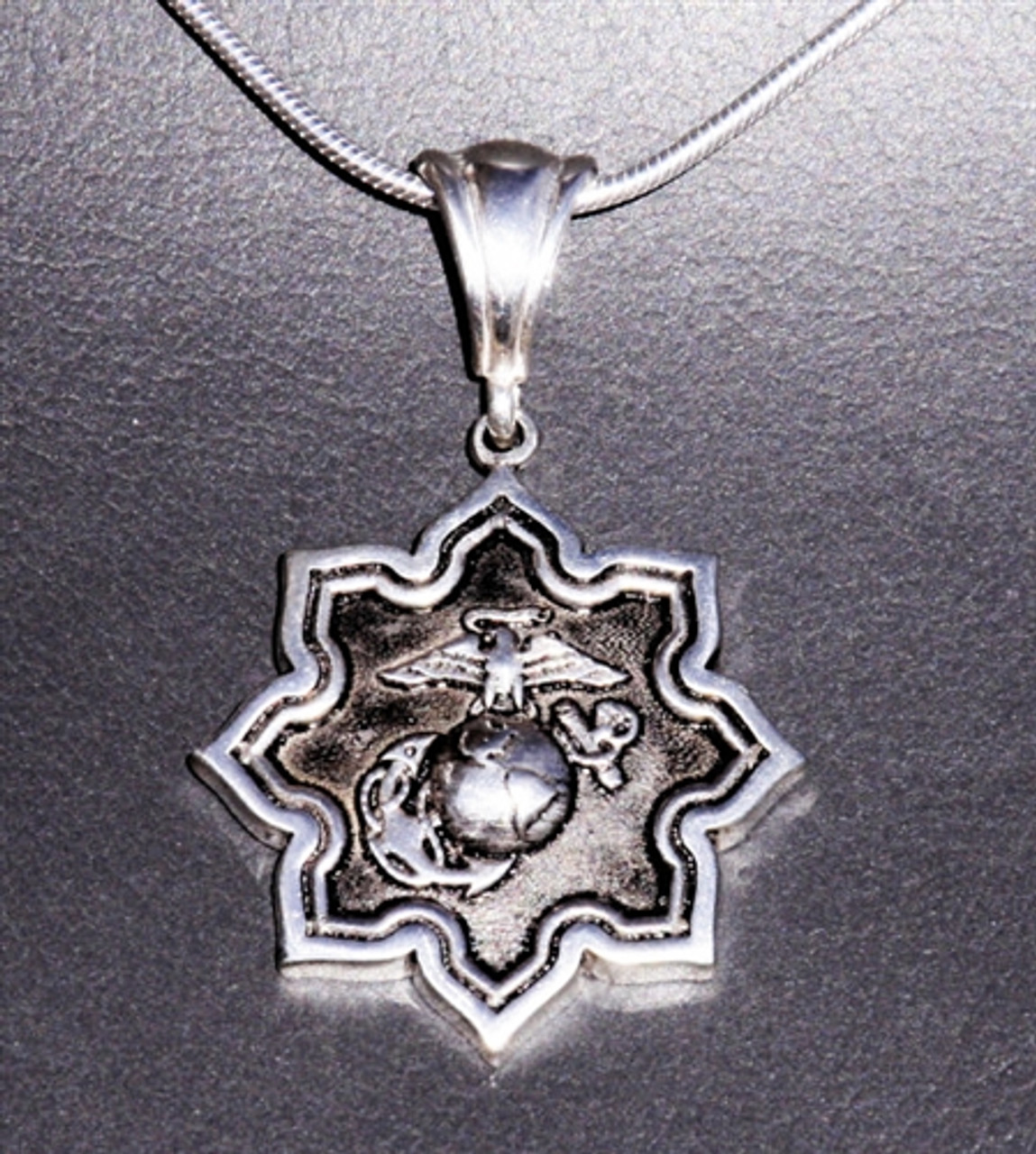 USMC Eagle Globe and Anchor Sterling Silver Star Pendant