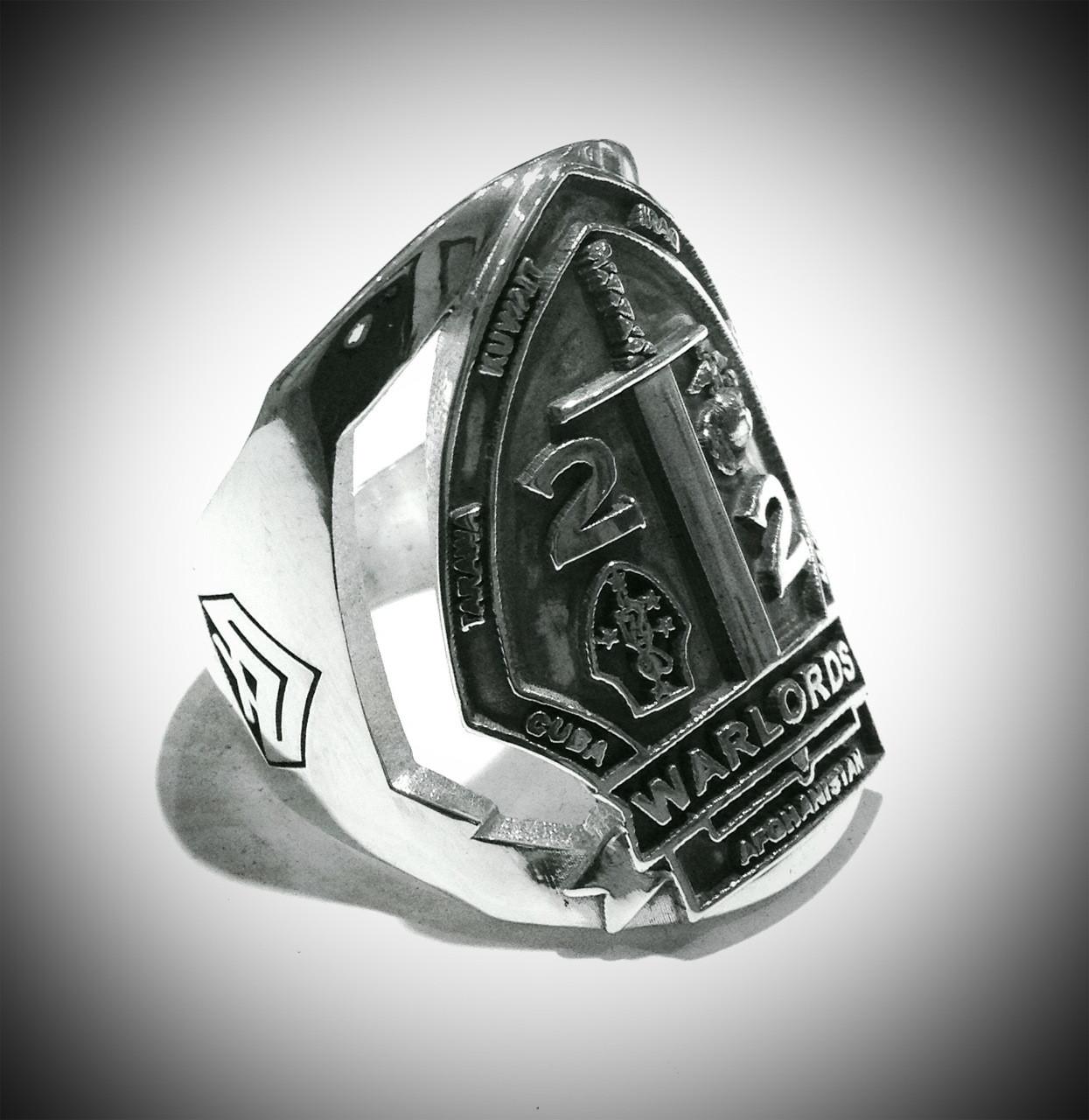 Custom Design USMC 2 2 Warlords Ring