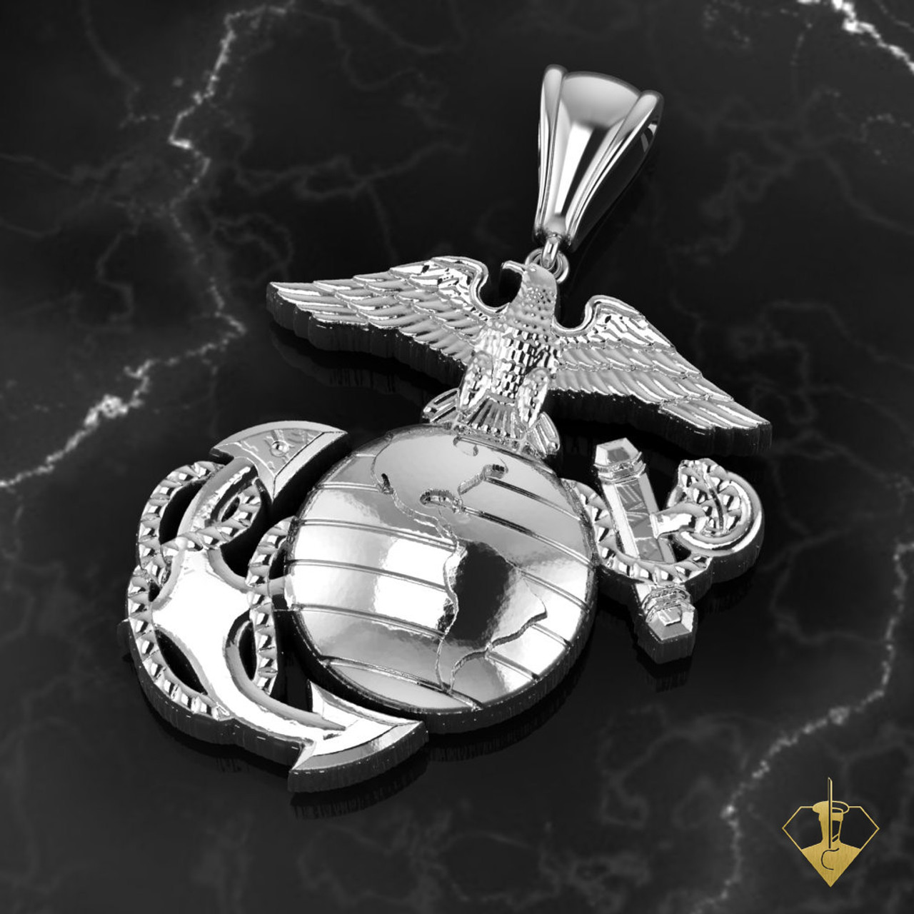 "Eagle, Globe and Anchor 1.25"" Necklace with 18"" Chain, Solid Sterling Silver  ""MADE BY MARINES FOR MARINES"""