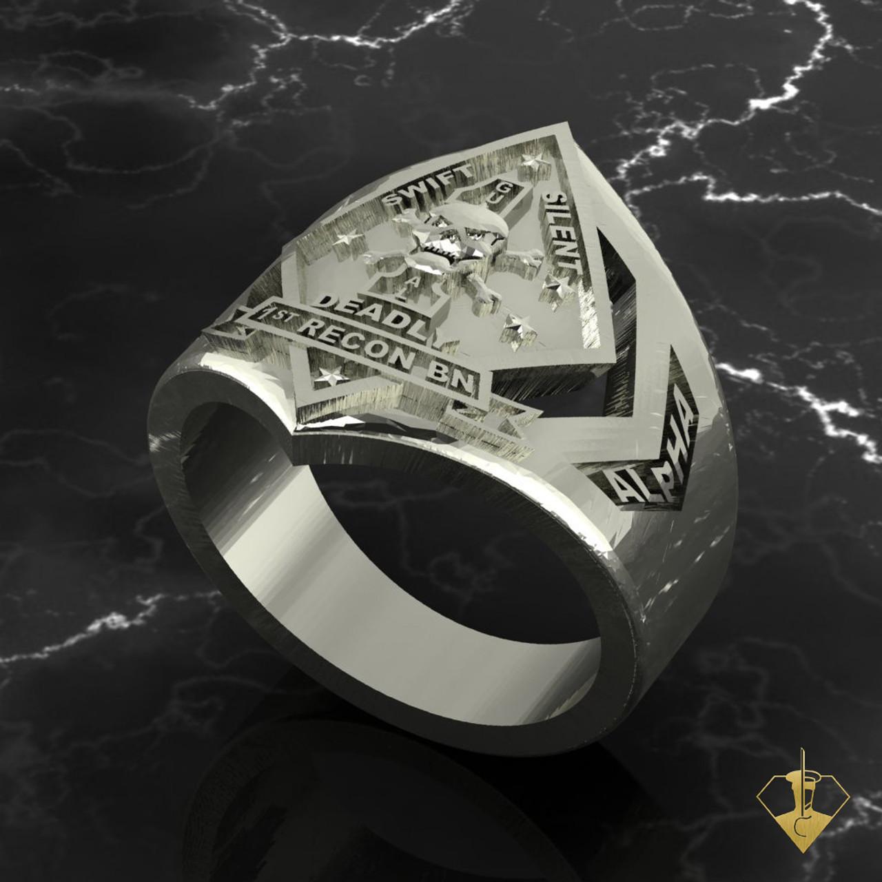 1st Recon Marines Ring White Gold