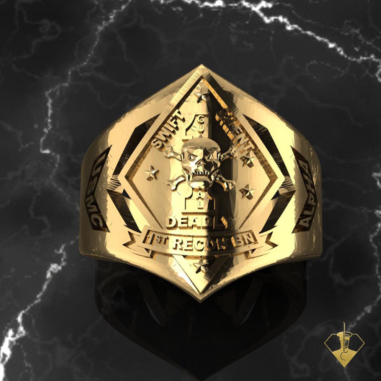 1st Recon USMC Yellow Gold Ring