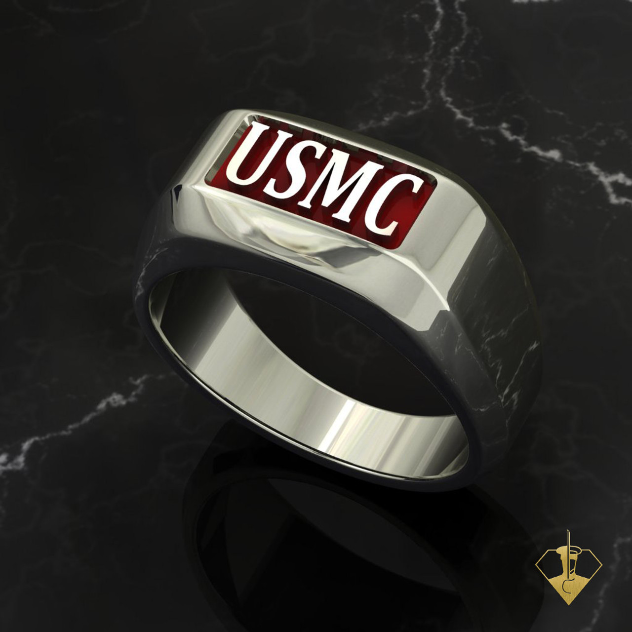 USMC Rugged Marine Ring  White Gold or Silver with Red Inlay