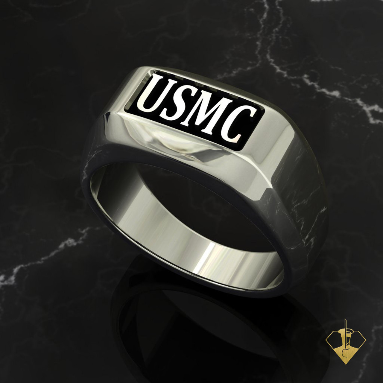 USMC Rugged Marine Ring  White Gold or Silver with Black Inlay