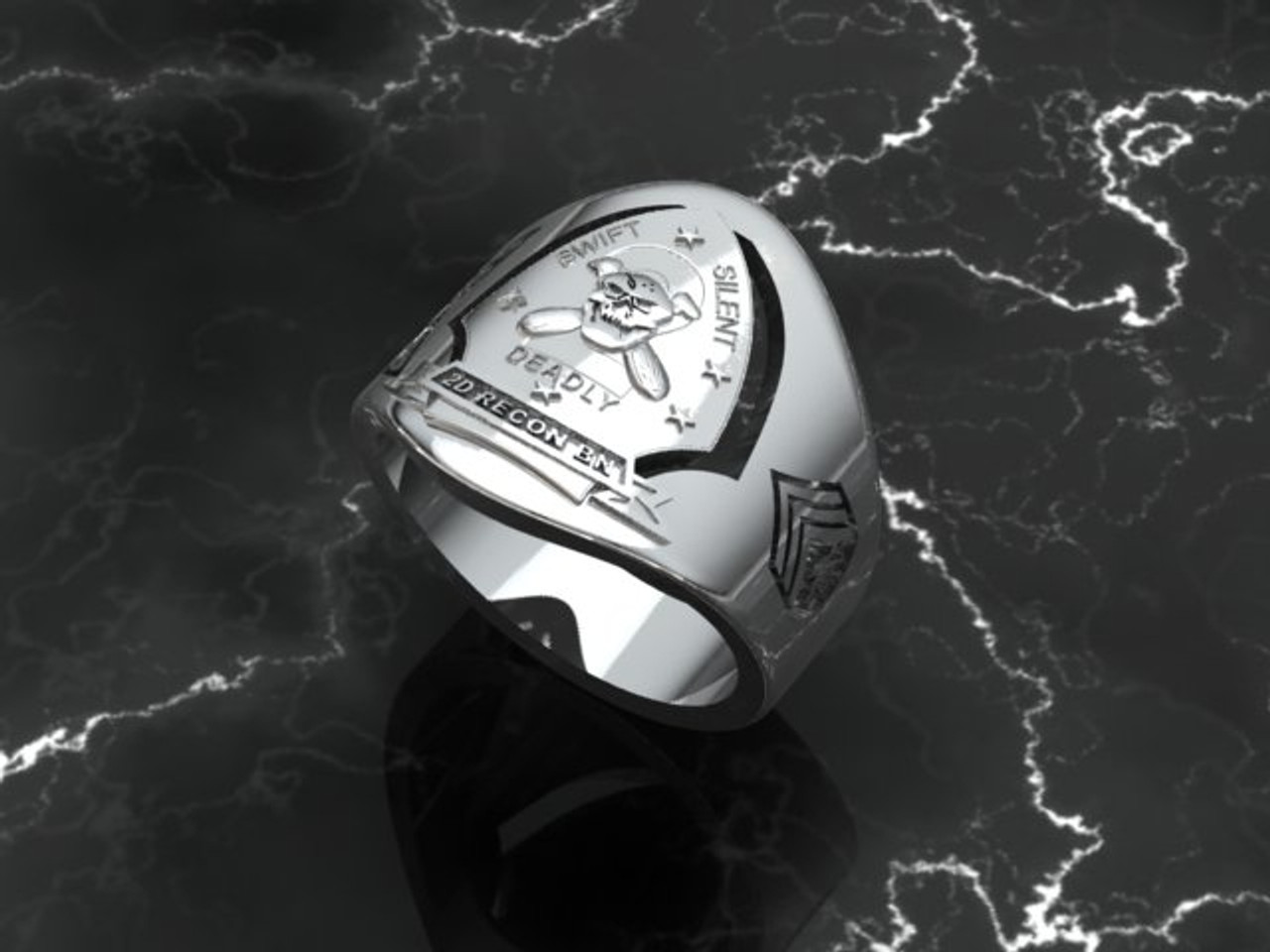USMC 2D Recon Battalion Silver Ring