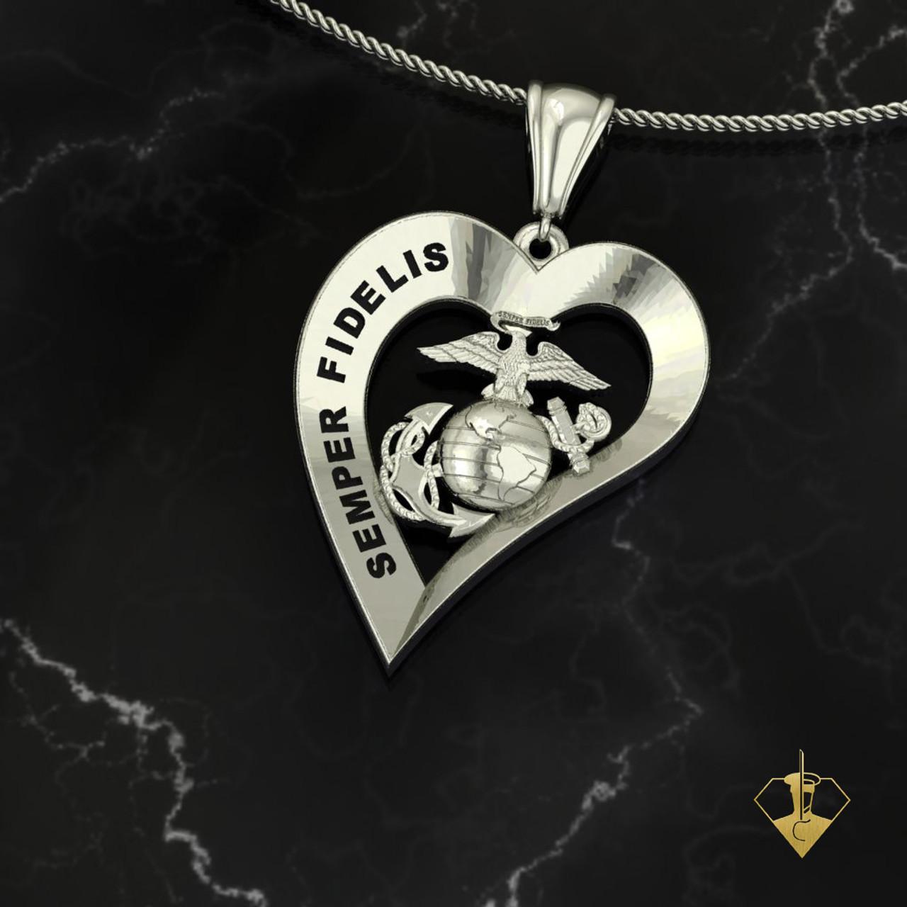SEMPER FIDELIS Heart Pendant White Gold or Silver