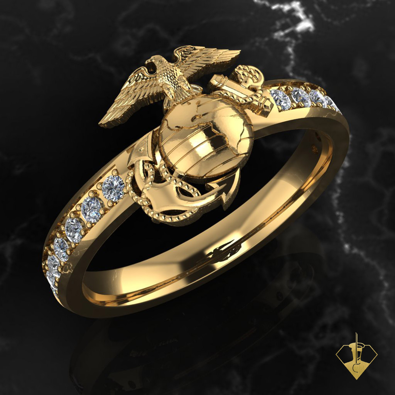 Woman Marine Corps EGA Yellow Gold with Diamond Band