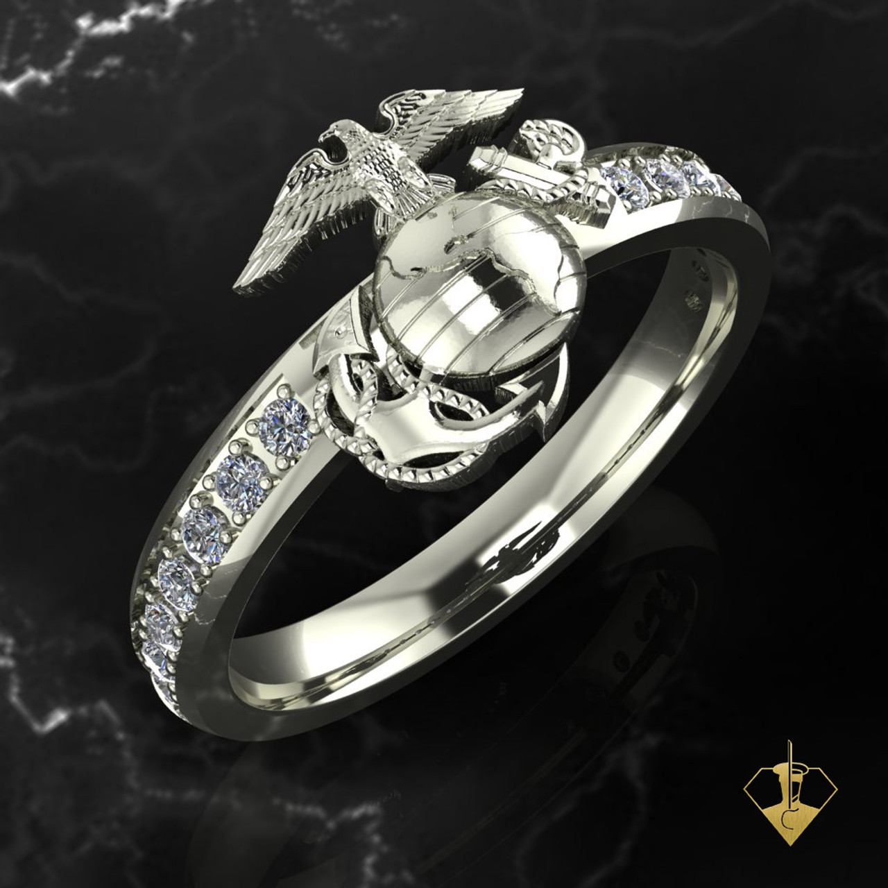 White Gold or Silver Woman Marine Corps Diamond Band featuring the Eagle, Globe & Anchor