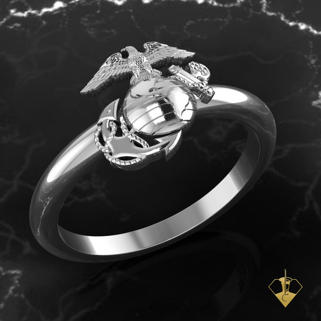 EAGLE GLOBE ANCHOR USMC WOMAN MARINES RING WHITE GOLD OR SILVER