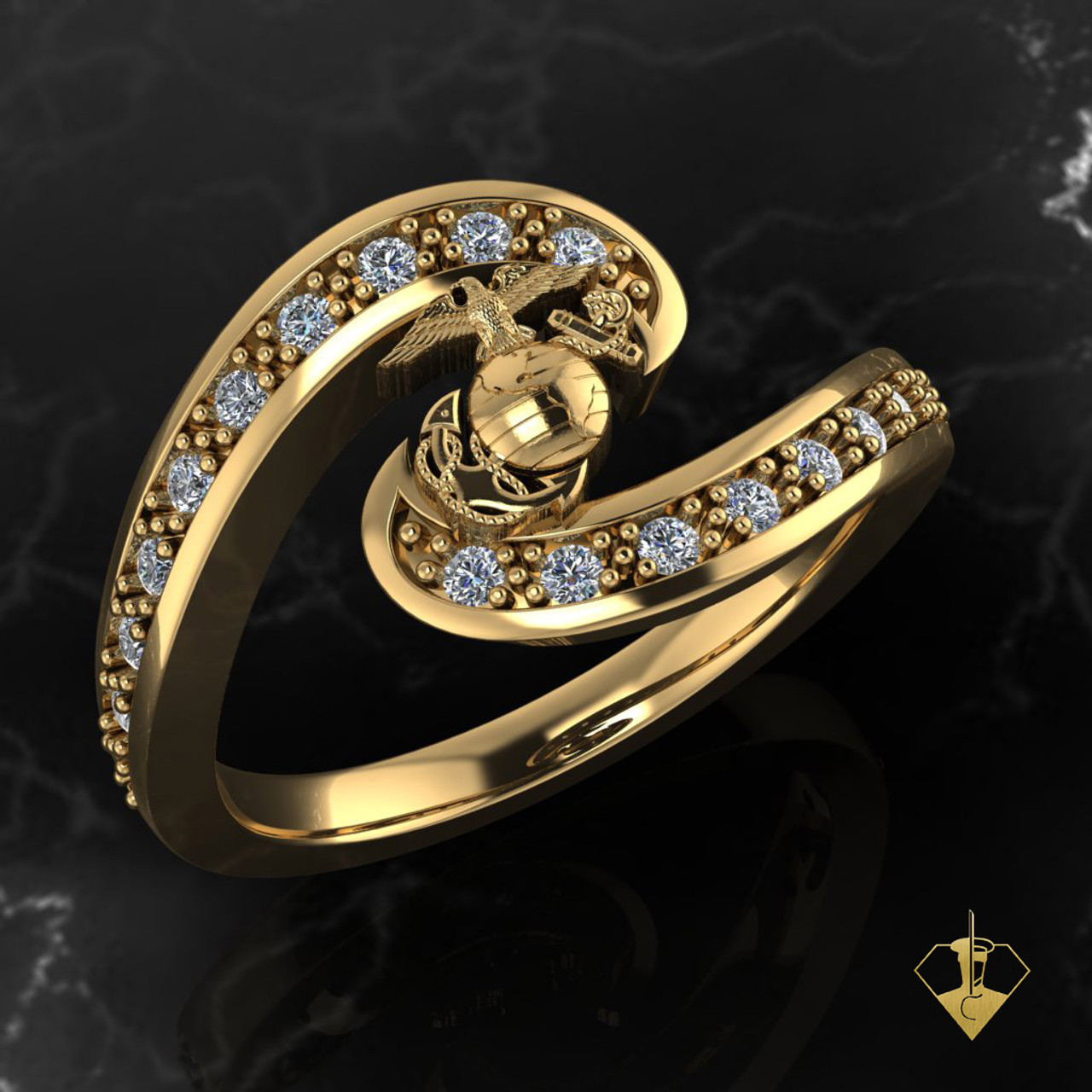 Swirling Diamonds Yellow Gold with EGA  Woman Marines Ring