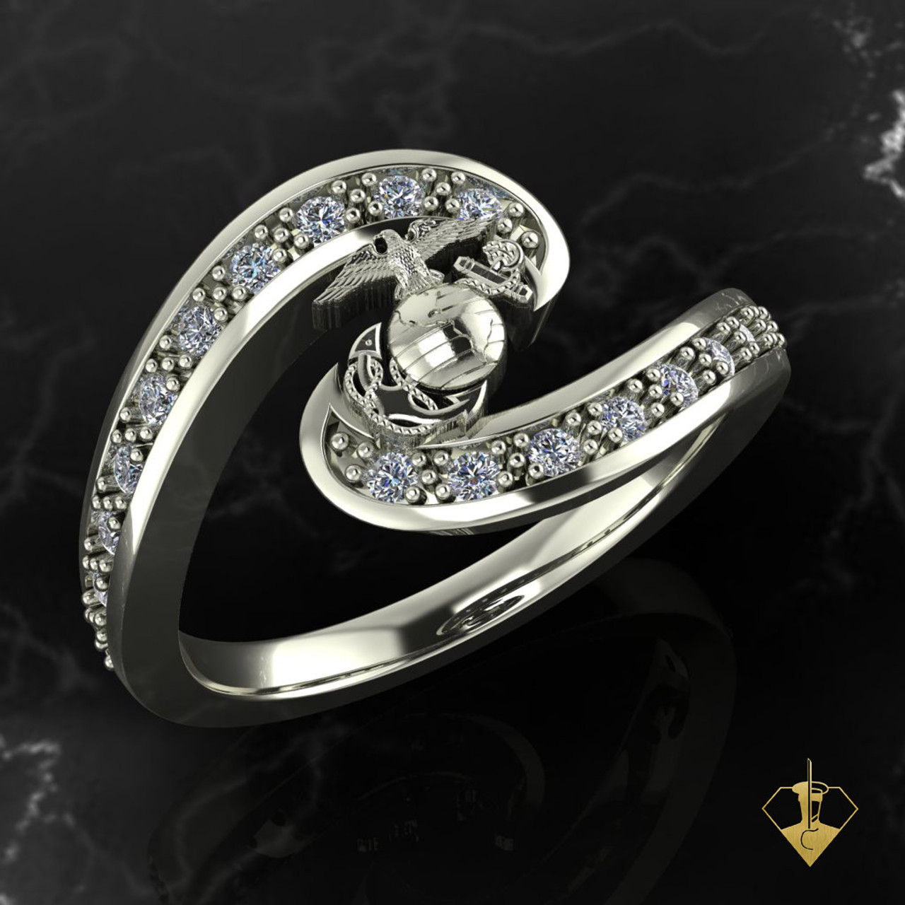 Silver or White Gold EGA  with Diamond Swirl Woman Marines Ring