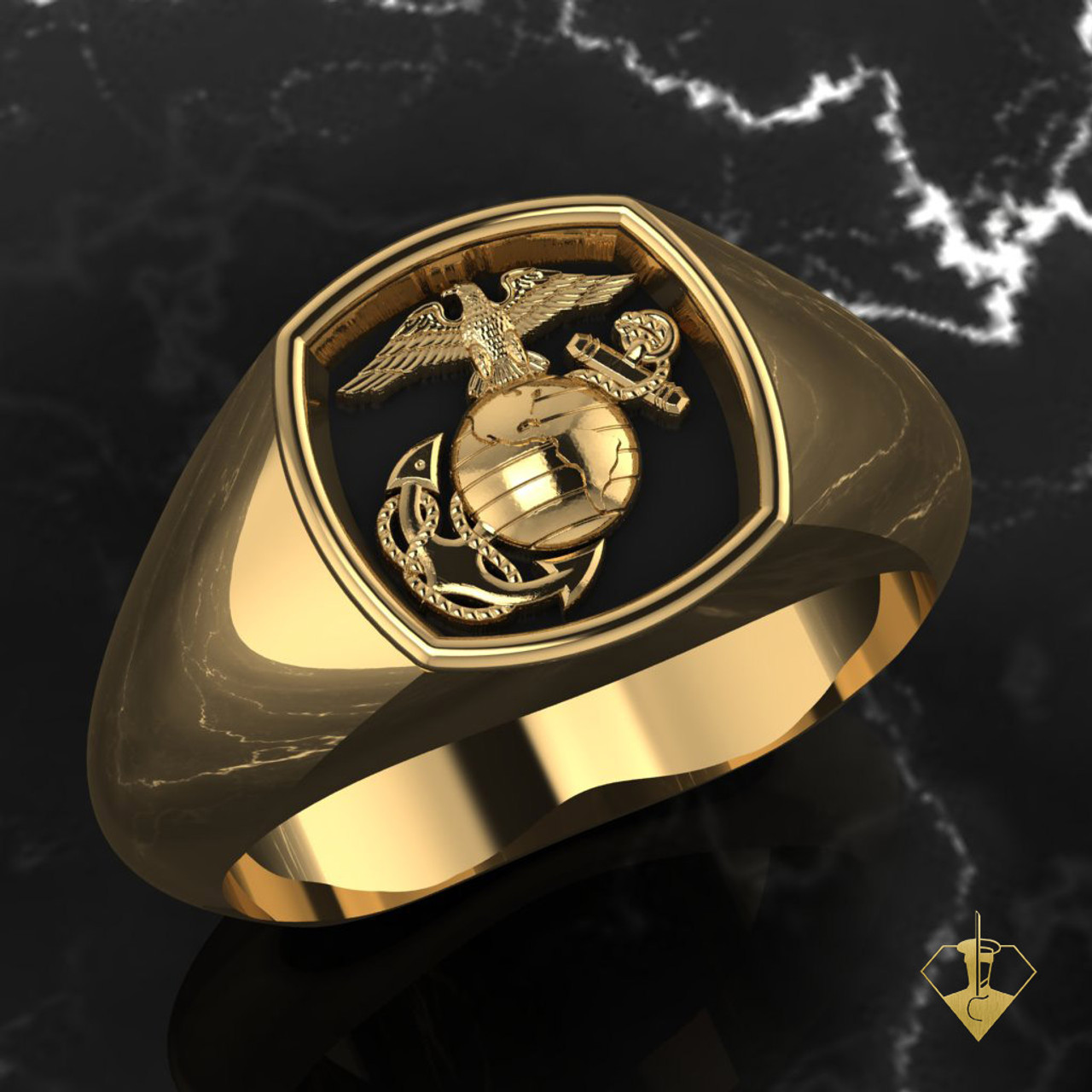 EGA Signet Woman Marines Ring in Yellow Gold