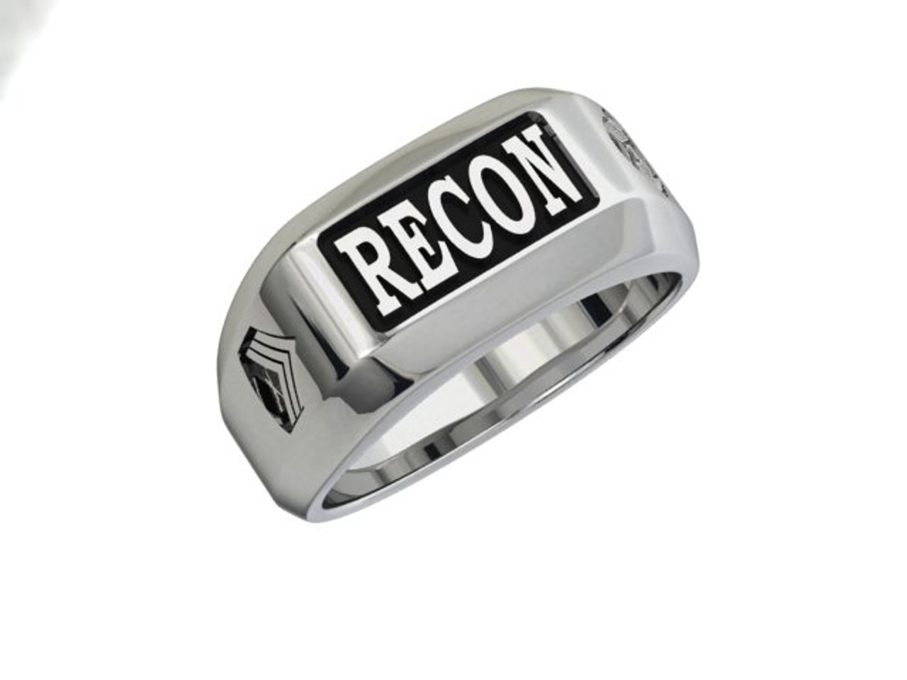 USMC Recon Ring with Combat Diver & Rank  in Solid Sterling Silver