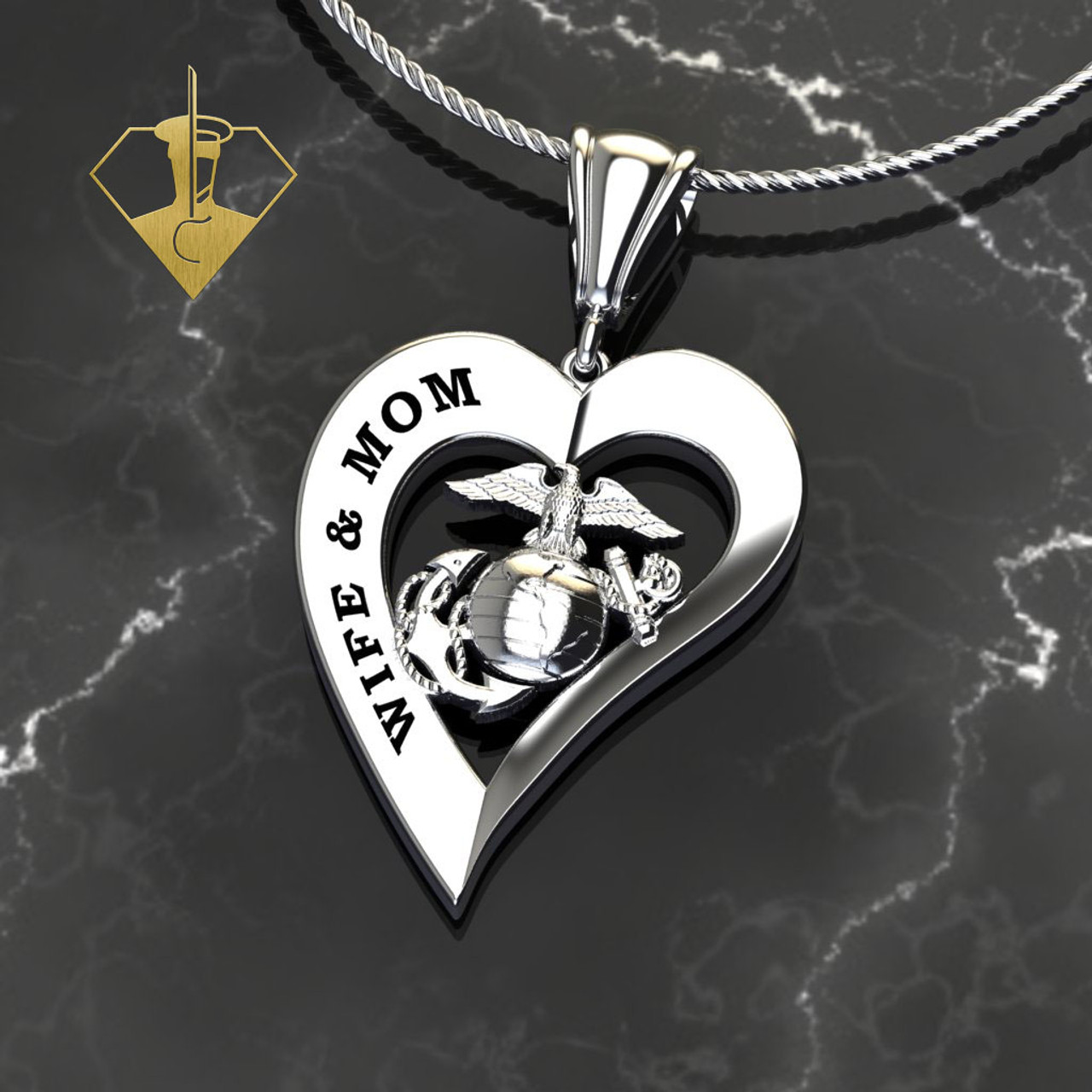 """WIFE & MOM MARINE HEART PENDANT  w/Diamond Etching and 18"""" Rope Chain"""
