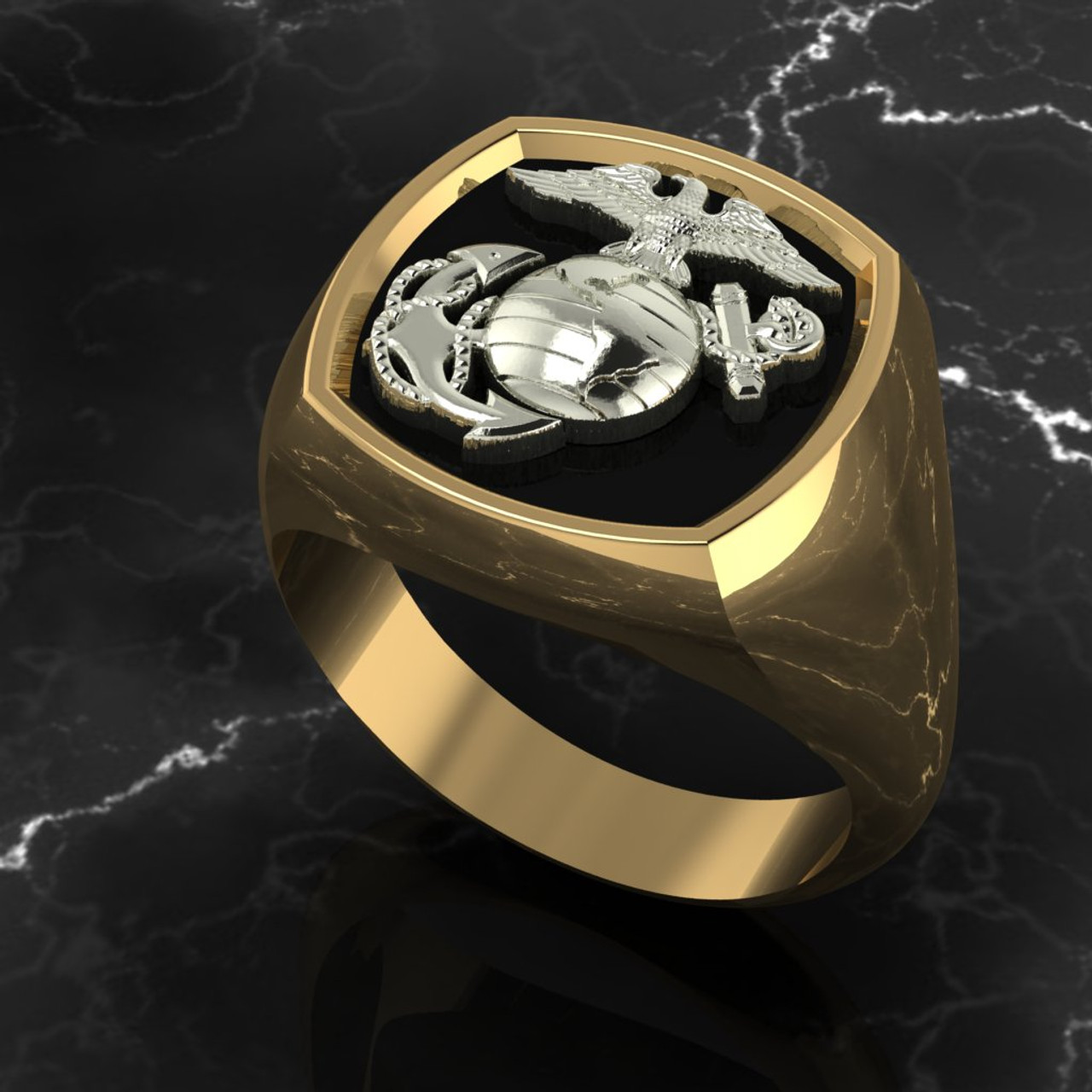 Marine Signet ring  10k White Gold on top of 10k Yellow Gold