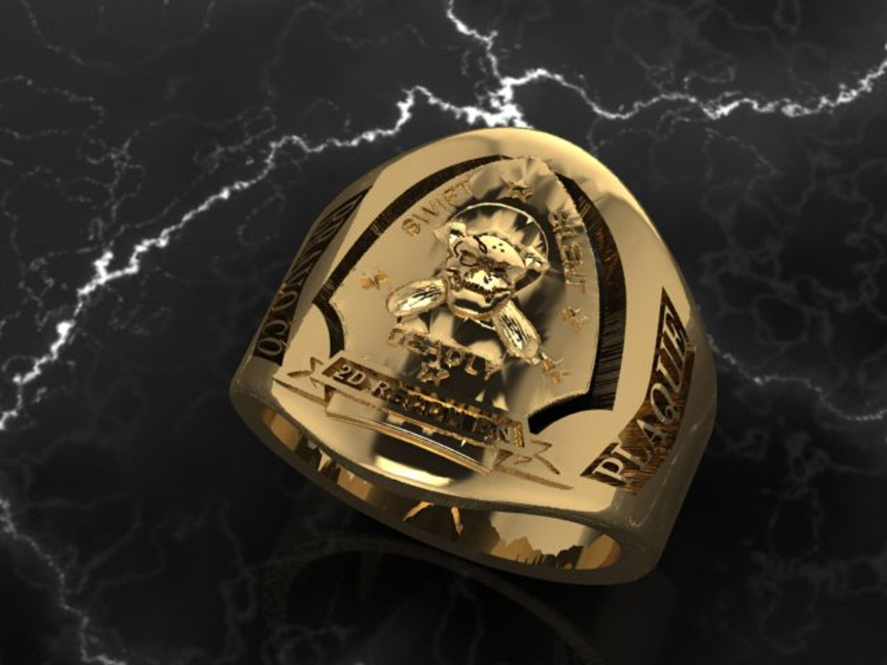 2nd Force Recon Solid 10k Yellow Gold Made by Marines for Marines