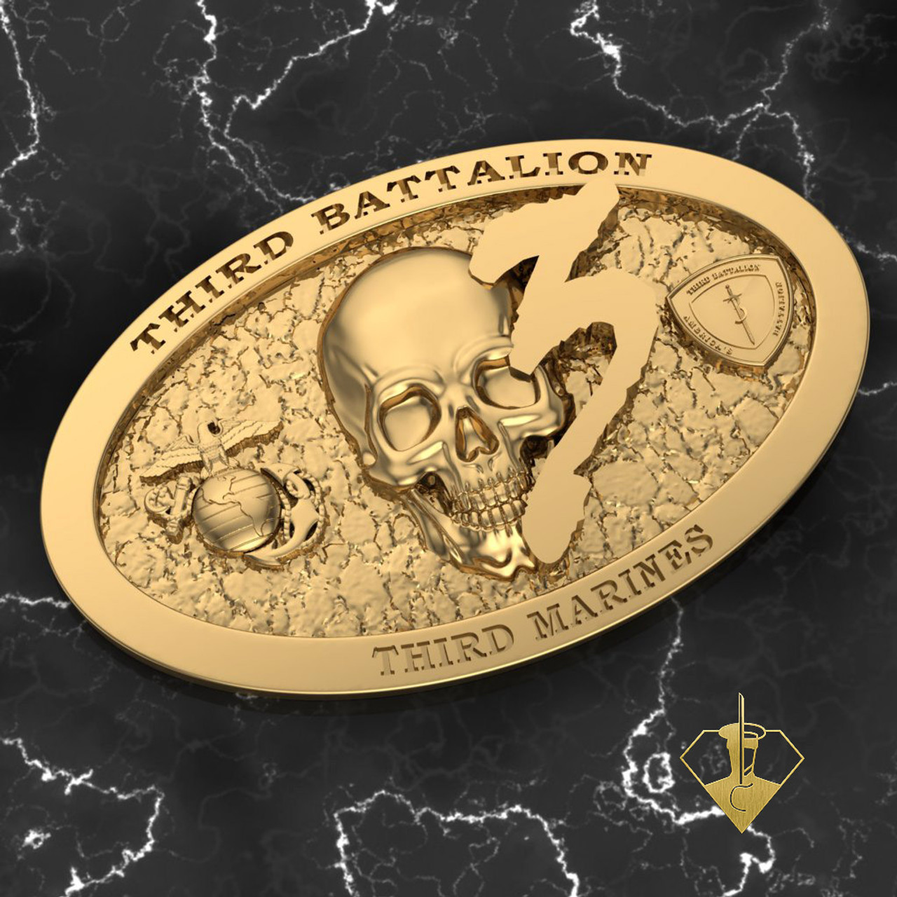 3rd Battalion 3rd Marines Solid Brass Belt Buckle