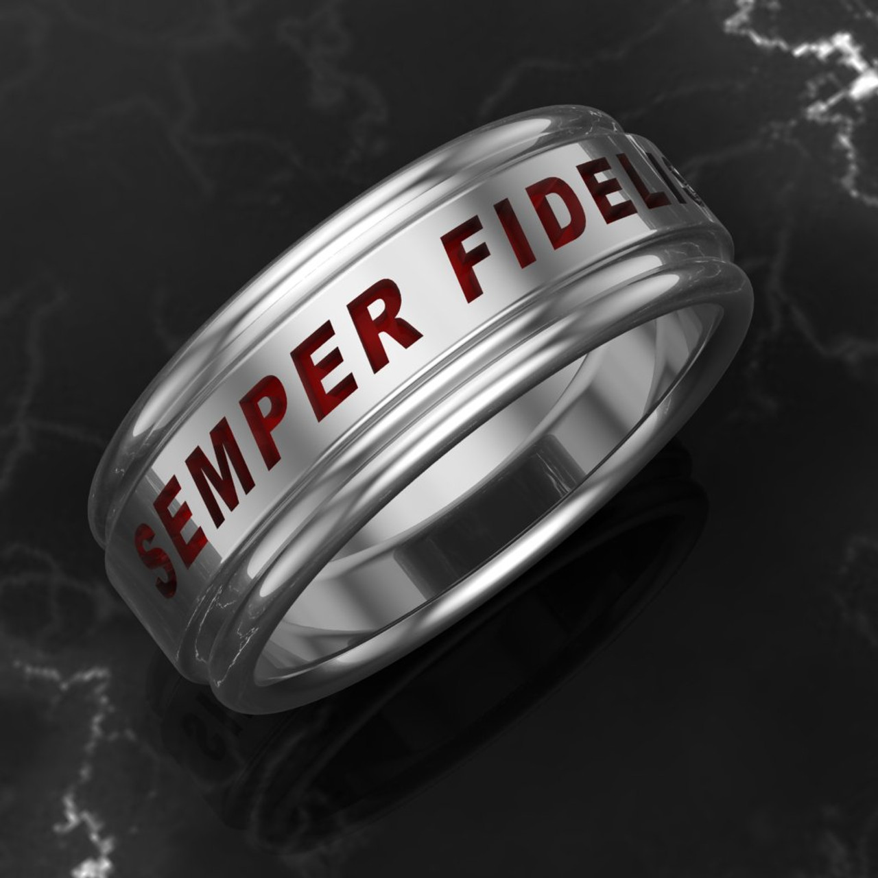 """USMC Woman Marines Semper Fidelis Band The stunning Semper Fidelis   The band is comfort fit and 7.5 mm wide. Your choice of black or red background.   """"Made by Marines for Marines""""    Available in Sterling Silver, 10k, 14k and 18k White or Yellow gold.   100% Satisfaction Guaranteed"""