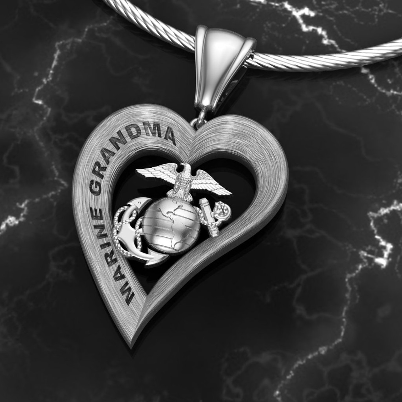 """Marine Grandma Silver Heart Pendant With Diamond Etching on top and high polished on sides w/18"""" Sterling Silver Chain also available in Sterling Silver , 14k and 18kwhite or yellow gold """"Made by Veterans for Veterans""""  100% Satisfaction Guaranteed"""