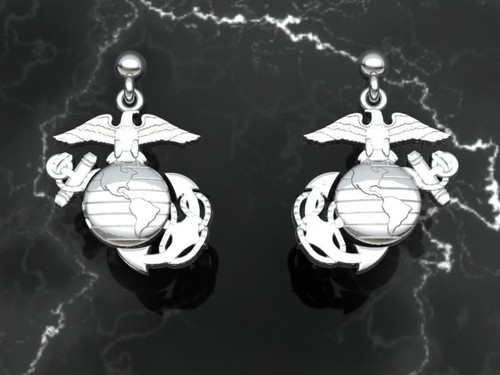 USMC 10k Gold EGA Earrings