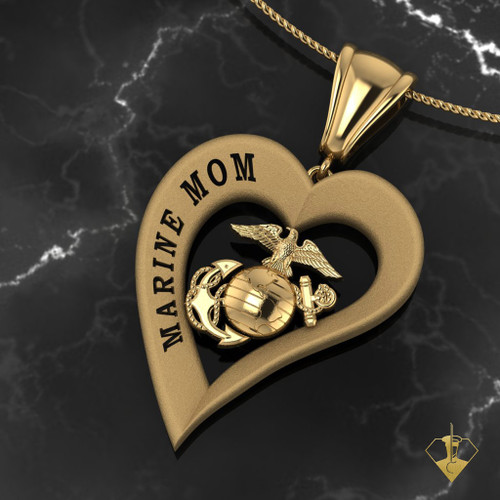 "Marine Mom Heart Pendant  available in Sterling Silver, 10k, 14k and 18k White or Yellow gold. ""Made by Marines for Mom""  100% Satisfaction Guaranteed"