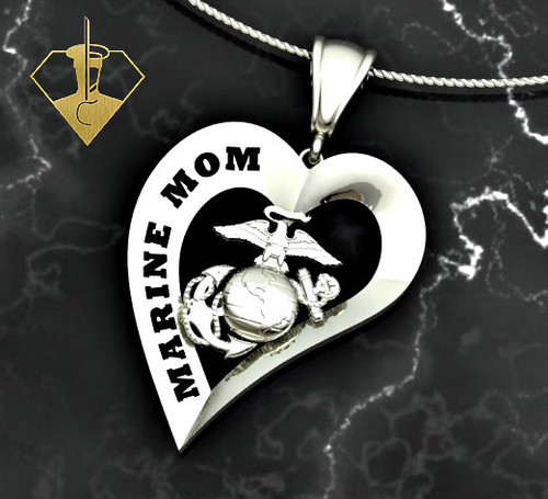 """Marine Mom Heart Diamond Etched Pendant w/18"""" Sterling Silver Chain also available in 10k, 14k and 18k white or yellow gold, 1 1/4"""" Tall """"Made by Marines for Marines""""    100% Satisfaction Guaranteed"""
