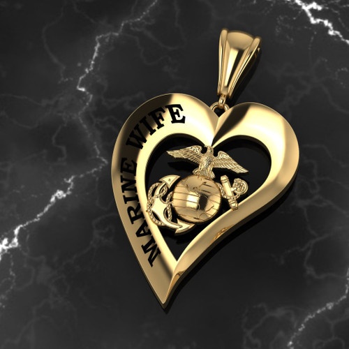 Marine Wife Heart Pendant 10k Yellow Gold w/Chain