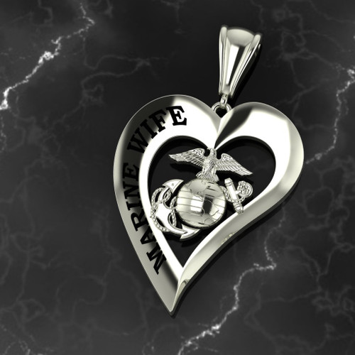 Marine Wife Heart Pendant 10k White Gold w/Chain
