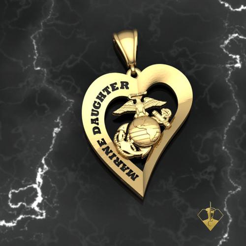 Marine Daughter Heart Pendant 10k Yellow Gold