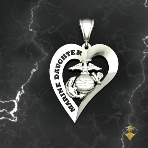 Marine Daughter Heart Pendant 10k White Gold