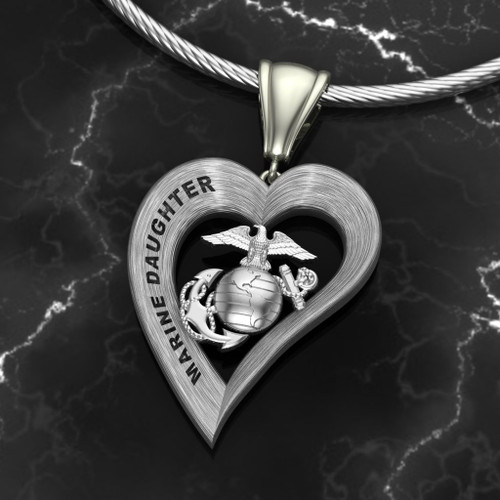 "Marine Daughter Silver Heart Pendant w/ Diamond Etching  w/18"" Sterling Silver Chain  also available in 10k , 14k and 18k white or yellow gold  ""Made by Veterans for Veterans""    100% Satisfaction Guaranteed"