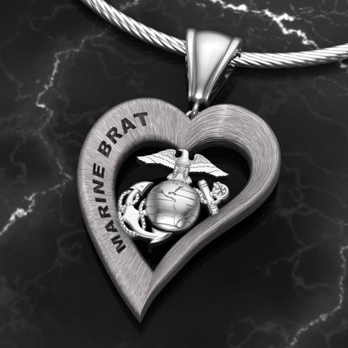 Marine Brat Heart Pendant Sterling Silver