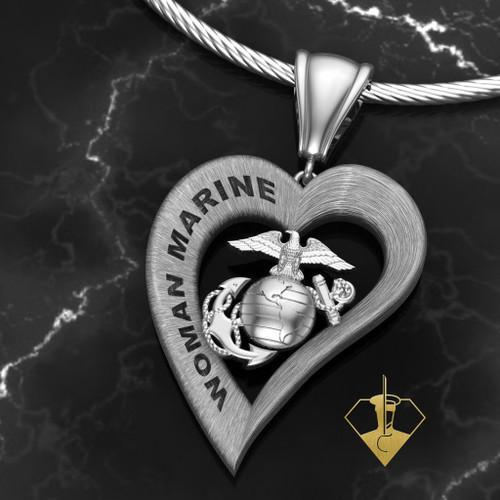 Woman Marine Heart Pendant Sterling Silver