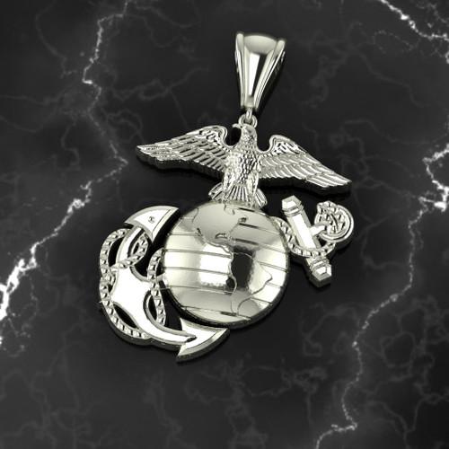 "USMC 1"" 10K WHITE GOLD EGA PENDANT"