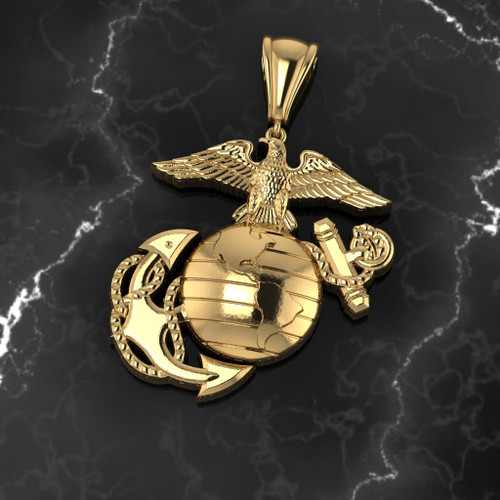 """EAGLE GLOBE AND ANCHOR 2"""" 14K YELLOW GOLD PENDANT"""