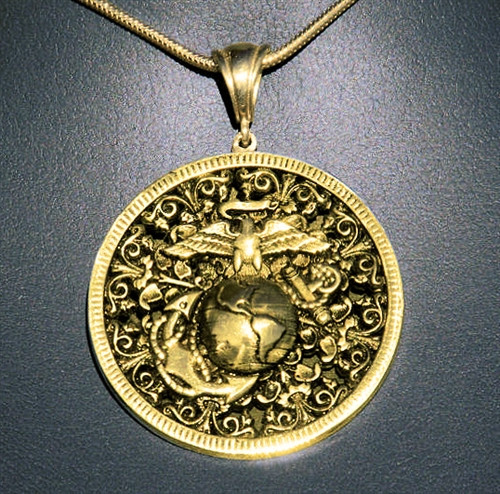 USMC 10K Gold EGA Iron Gate Pendant