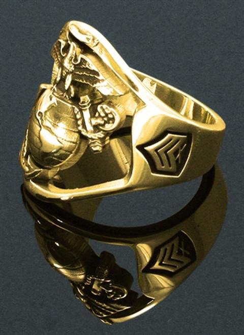USMC10k Gold Marine Ring Open Face
