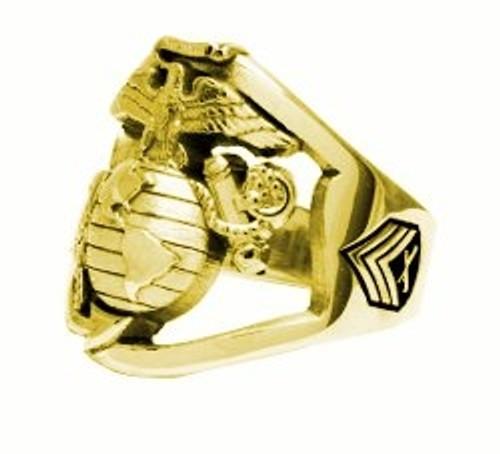 USMC MARINE RING 10K GOLD OPEN FACE