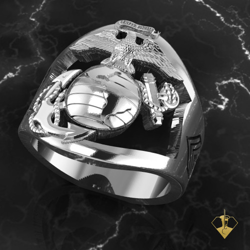 """Open Face US Marine Corps Ring   """"Made by Marines for Marines"""" available in Sterling Silver, 10k, 14k and 18k White or Yellow gold.   100% Satisfaction Guaranteed"""