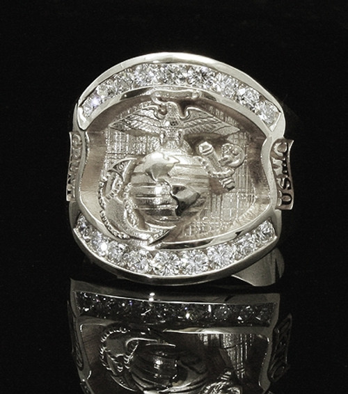 USMC Magnificent Sterling Silver  Marines Ring w/ Diamonds