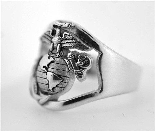 USMC MARINE RING STERLING SILVER OPEN FACE PLAIN