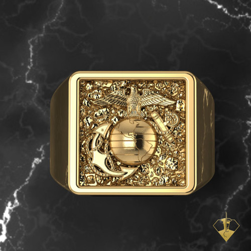 """EGA Gold Signet Ring   """"Made by Marines for Marines"""" available in Sterling Silver, 10k, 14k and 18k White or Yellow gold.   100% Satisfaction Guaranteed"""