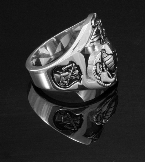 "USMC ""The Walking Dead"" Solid Sterling Silver, this is one tough ring and every detail is outstanding and you'll wear it with pride."