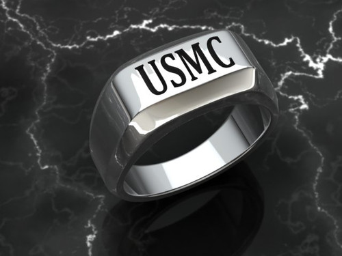 "USMC Ring ""Made by Marines for Marines"" available in Sterling Silver, 10k, 14k and 18k White or Yellow gold. Your choice of Red or Black Background.   100% Satisfaction Guaranteed"