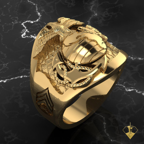 """3rd Recon Marine Ring available in Sterling Silver, 10k, 14k and 18kWhite or Yellow gold. """"Made by Marines for Marines""""  100% Satisfaction Guaranteed"""